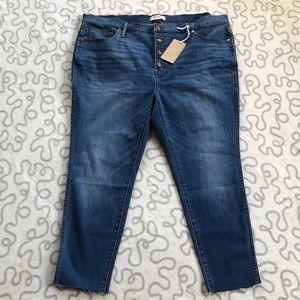 "Madewell 10"" High Rise Skinny Crop Raw Hem Jeans"